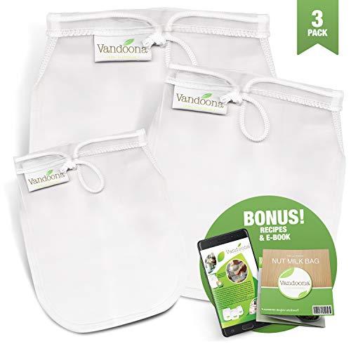 Vandoona Nut Milk Bag – Large 12x12 Reusable Premium Mesh Strainer Bag| Cheesecloth Bag for Filtering & Straining Almond Milk| Cheese| Yogurt| Juices & More. 3 Pack (1 Large, 1 Medium, 1 Small)