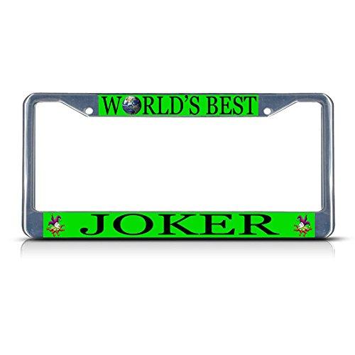 Joker Career Profession Chrome Metal License Plate Frame Tag Holder Perfect for Men Women Car garadge Decor