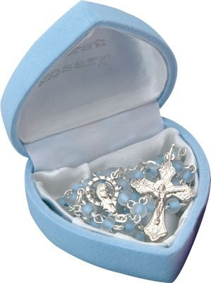 Boy's My First Rosary Glass Beads Blue Children's Christening Gif