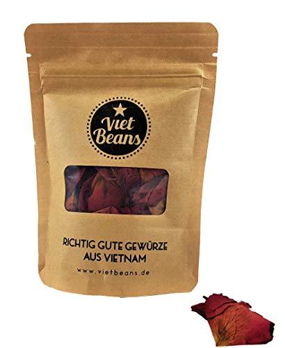 Rosenblätter rot getrocknet - Kuchendeko Topping Backzutat - Lebensmittelqualität - Deko Gewürz zum Backen und für Rosen-Tee - Badezusatz - Glutenfrei - 15g