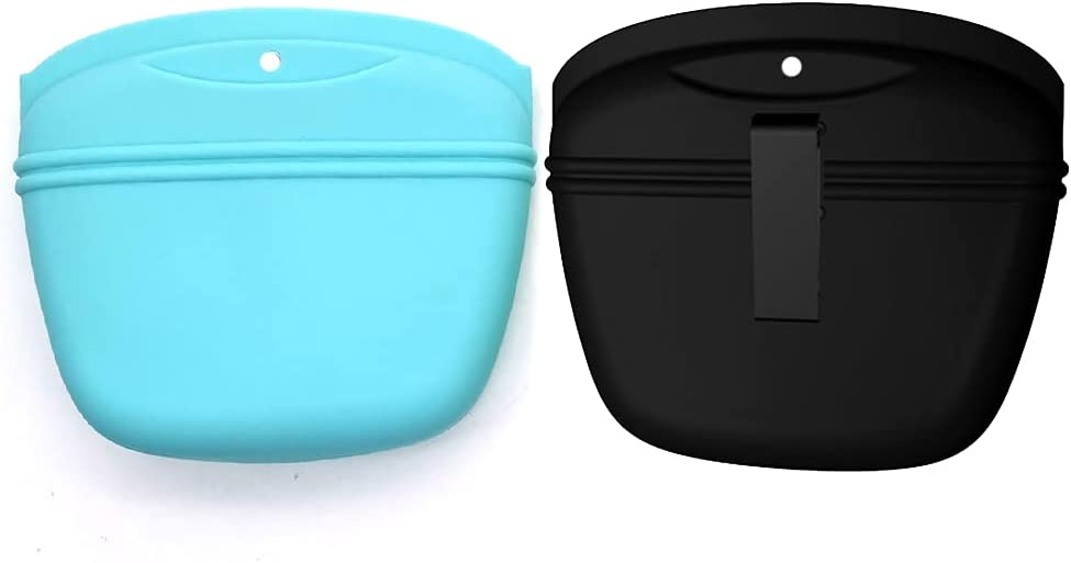 ANTUREBAY Update Silicone Dog Treat Pouch Pet Small Training Bag,Portable Dog Treat Bag with Magnetic Closure and Waist Can Hold Dry and Wet Food Largesize