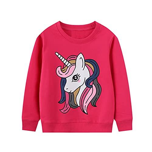 JinBei Sudadera Niña Manga Larga Camiseta con Algodón Casual Top Chandal Unicornio Rosa Roja Caballo Impresión de Pull-Over Otoño Ropa Invierno Cuello Redondo Jersey 3-4 Años