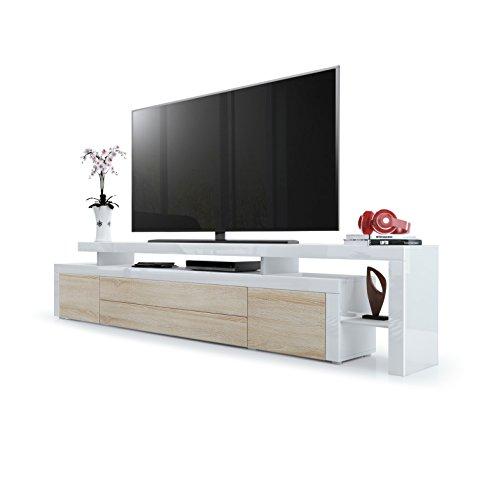 Vladon TV Board Lowboard Leon V3, Korpus und Überbau in Weiß Hochglanz/Front in Eiche sägerau mit Rahmen in Weiß Hochglanz