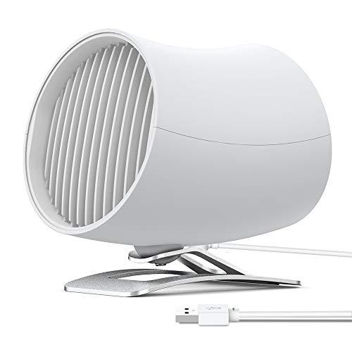 Funme USB Mini Ventilador de Escritorio Ventilador Silencioso de Dos Táctil Ventilador para Hogar - Blanco