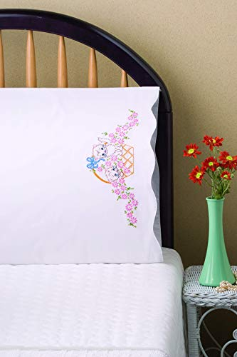 Tobin Stamped Pillowcases, Kittens in Basket, 20' x 30' Embroidery Kit, White