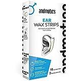 andmetics Ear Wax Strips – Cera depiladora para orejas, 8 pares Wax Strips y 2 toallitas calmantes