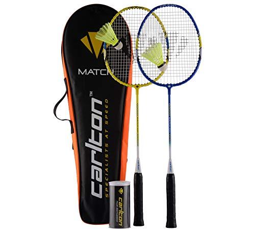 Carlton Badmintonset Match 100 Set de Badminton Mixte-Adulte, Bleu/Jaune/Blanc, Taille Unique