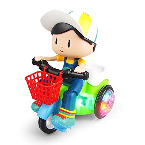 Shhjjyp Giocattolo Elettrico A 360 Gradi Ruota Triciclo Acrobatico con Musica Luce Cartoon Boy And Girl Universal Dump Truck (Ragazzo),B