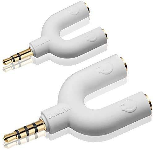 AFUNTA Headset Kit de Audio Estéreo del divisor, Herradura 3 Pin 3.5mm Jack para Auriculares + 2 forma de U 4 adaptador del Pin de 3,5 mm 2 de 4 patillas para Auriculares con Micrófono para Móviles, ordenadores, MP3, Tablet (Blanco)