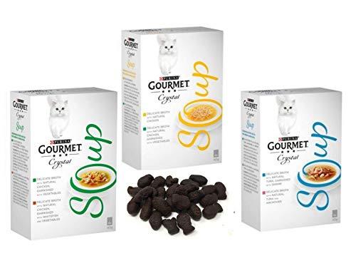 Gourmet Suppe für ausgewachsene Katzen, gemischt, Lachs und Gemüse (4 x 40 g), Hühner (4 x 40 g), Fisch (4 x 40 g), 12 Beutel