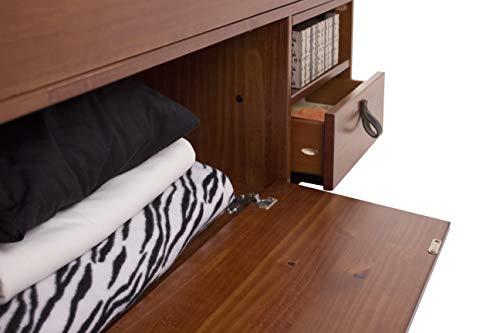 Memomad Lit Multifonction Bali – Beaucoup d'Espace de rangements et tiroirs, idéal pour Petites Chambres – Bois Massif et Design Exclusif – Prix avec sommier à Lattes – Queen Size 160x200, Caramel