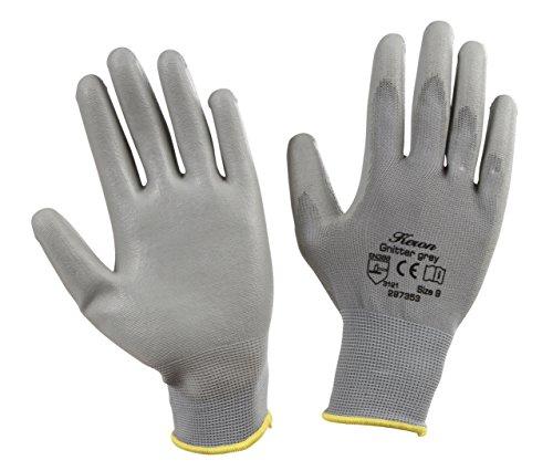 Kerbl 297352 PU-Handschuh Gnitter Grey Feinstrickhandschuh, Größe 8