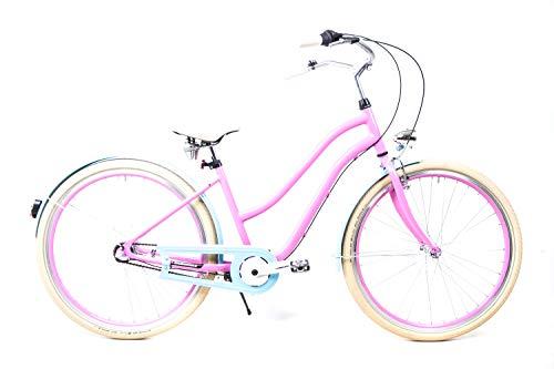 28 Zoll Alu Beach Cruiser Damen City Fahrrad Shimano 3 Gang Nabenschaltung Schwalbe rosa blau