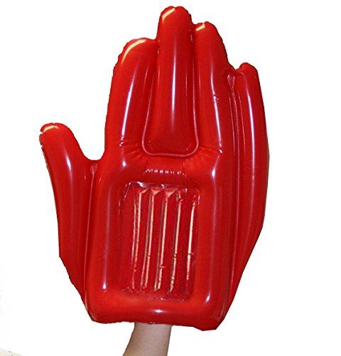 KarnevalsTeufel XXL Hand aufblasbar, rot (10er Pack), Fan, Riesenhand, Spaßartikel, Festival (10x rot)
