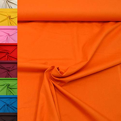 MAGAM-Stoffe Sophie Baumwollstoff Uni 100{32306491d1c43eecb788f9063f921c0a2c334f8b2c51d40413c96482b22c22a0} Baumwolle Oeko-Tex Meterware 50cm (05. Orange)