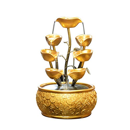QULONG Árbol del Dinero de Yuanbao con Agua Corriente y Luces pequeñas Símbolo de Riqueza Árbol de la Fortuna Decoración del hogar Hotel Escritorio Hermoso, S