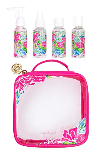 Lilly Pulitzer TSA Approved 3 Ounce Travel Bottle Set, Toiletry Kit Includes 4 Reusable Bottles and Clear Toiletry Bag, Bunny Business