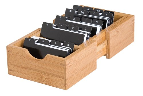 Lipper International 810 Bamboo Wood Expandable Business Card Holder with Alphabet Index Tabs, 5