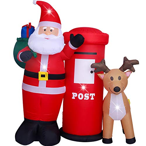 ASTEROUTDOOR 6ft Christmas Decorations Inflatable Claus with Mailbox Reindeer Blow Up Built-in LED Outdoor Indoor Yard Lighted for Holiday Season, Quick Air Blown, 6 Foot High, Santa w/Postbox