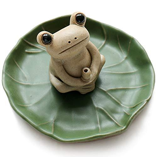 NAGU 100% Handmade Ceramic Stick Incense Burner Holder,Small Frog Incense,Lotus Leaf Tray,Mini Cute Animal Statue Home Incense Burner