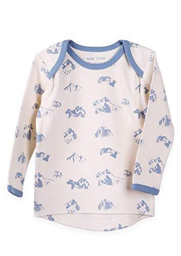Organic by Feldman T-shirt à manches longues 100% coton bio Interlock | Certifié GOTS | avec col extensible à l'arrière | Berge Nature beige Natur mit Graublau Print 62/68