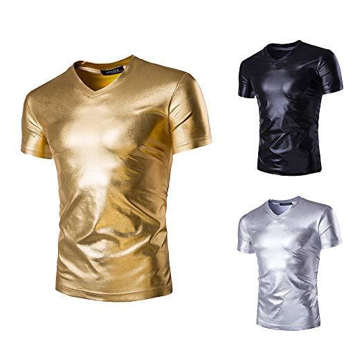 Mens Metallic Shiny T-Shirt, V-Ausschnitt Lässige Kurzarm Slim Fit T-Shirt Nachtclub Top für große und große Männer (Gold, Large)