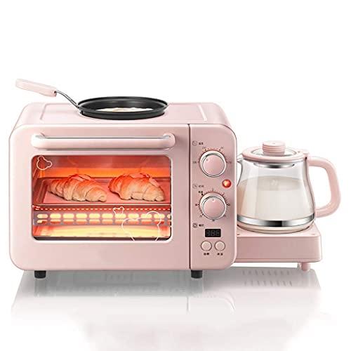 LITINGT Estación de Desayuno 3 en 1, máquina de Desayuno multifunción con Mini tostadora, Horno eléctrico, hervidor eléctrico, sartén, para Hacer Pan, Pizza, Huevo, 1400 W, Rosa, Desayuno, Huevo, sa