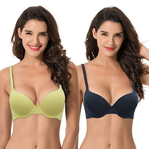 Curve Muse Women's Light Lift Add 1 Cup Push Up Underwire Convertible Tshirt Bra-2PK-BLACK IRIS,Pale GREEN-32D
