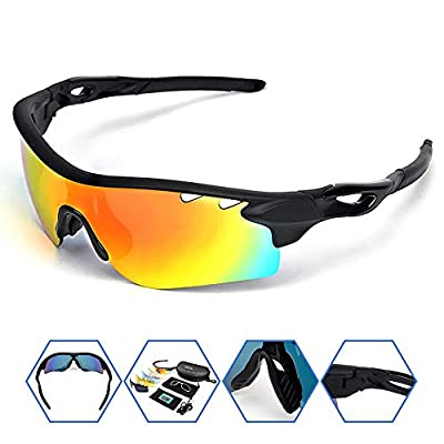 Sposune Polarized Sports Sunglasses with 5 Set Interchangeable Lenses Myopia Inner Frame for Men Women RX Inserts Reading Eyewear for Cycling Running Fishing Golf Baseball