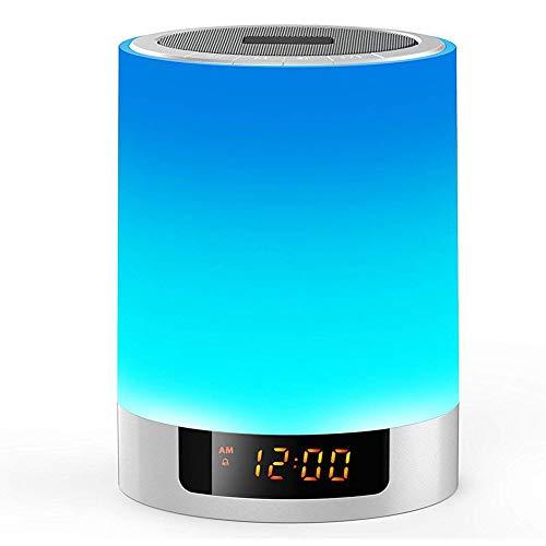 3 en 1 Lámpara LED de Mesa, YZCX Lámpara Táctil con Altavoz Bluetooth, Multicolor Lámparas de Escritorio con Reloj Despertador, Lámparas Mesita de Noche para Habitaciones