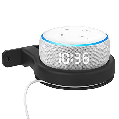 Delidigi Supporto da parete per Echo Dot montaggio a parete in ABS per Echo Dot 3a generazione con orologio [gestione dei cavi integrata](Nero)