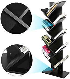 GOTOTOP Tree Bookshelf,Compact 9-Shelf Bookcase Display Rack for CDs, Movies & Books Storage Rack Shelf Organization Cabinet(Holds Up to 10 Books Per Shelf (Black)