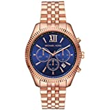 Michael Kors Women's Lexington Quartz Watch with Stainless Steel Strap, Rose Gold, 18 (Model: MK6710)