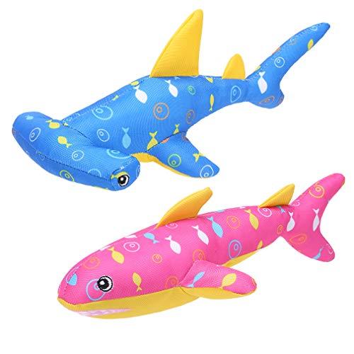 BINGPET Schwimmendes Hundespielzeug für Pool, 2 Stück, Sommer-Wasser-Hundespielzeug, niedlicher Hai, quietschendes Hundespielzeug für Spiele