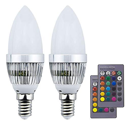 Luxvista 3W bombilla led e14 vela colores RGBW con controlador remoto mando IR de 24 teclas (rgb+blanco frío, 2-Unidades)