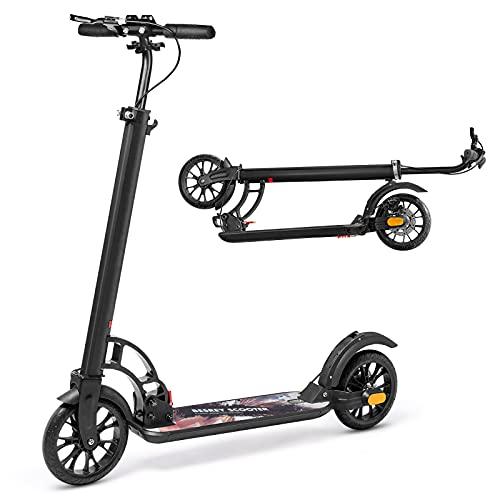 besrey Kickscooter Scooter Tretroller Faltbar Höhenverstellbar City Roller 200mm Big Wheel Scooter für Erwachsene Teenager ab 8 Jahren - Schwarz