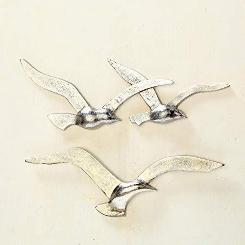 Boltze 2tlg. Wand-Objekt Vogel Silber aus Aluminium Metall Möwe Hampton Deko (2 Motive)