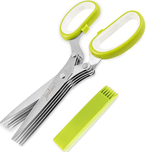 Jenaluca Herb Scissors with 5 Blades and Cover - Cool Kitchen Gadgets - Cutter, Chopper and Mincer -...
