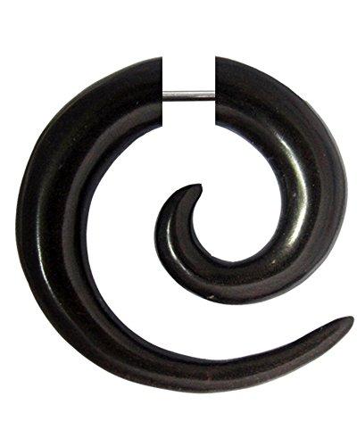 Chic-Net Damen Herren Fake Piercing Spiralen Dehnschnecke Ohrring aus Holz und Edelstahl als Spirale oder spiraliger Spike OH-101