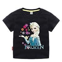 CHANI 女の子 アナと雪の女王 半袖tシャツ エルサ 子供服 夏 薄手(100,ブラック2)