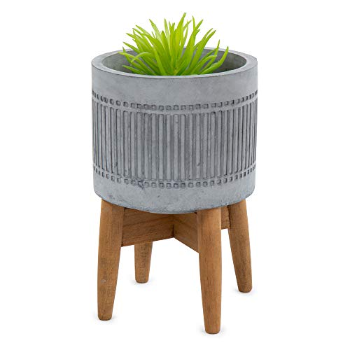 Truu Design Concrete Planter Pot with Wooden Stand, 5 x 8 inches, Grey