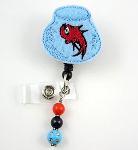 Red Fish in Bowl - Nurse Badge Reel - Retractable ID Badge Holder - Nurse Badge - Badge Clip - Badge Reels - Pediatric - RN - Name Badge Holder