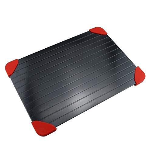 Wqzsffgg Auftauschale – Rapid defrosting Tray Auftauen Tablett, Schnelles Auftauen für Gefrorene Lebensmittel, Aluminium, Schwarz (Color : M(29.5cm*20.3cm*0.2cm))