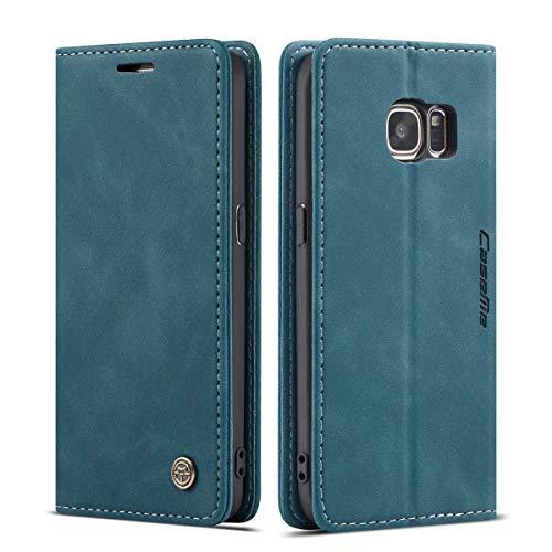 mvced Funda para Samsung Galaxy S7,Funda Móvil Funda Libro con Tapa Magnética Carcasa,Azúl
