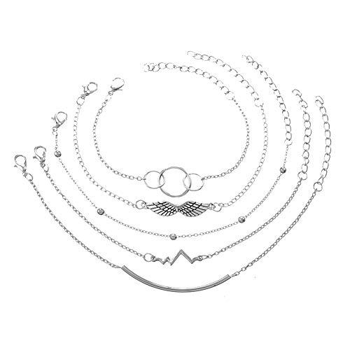 RIsxffp 5Pcs/Set Pulseras Mujer, Alas de Latido del corazón Anillos Tubo Curvo Pulsera Moldeada Joyería de Las Mujeres Silver
