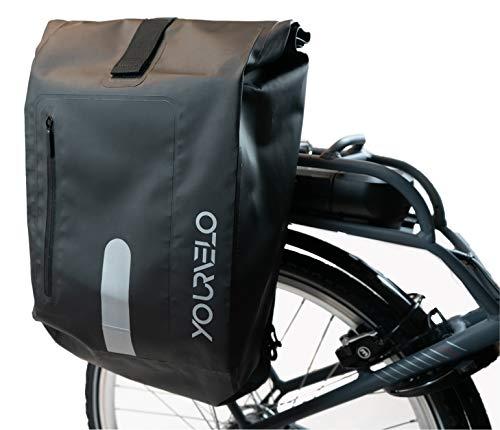 YourVelo - Fahrradtasche für Gepäckträger mit Laptopfach - 25L Volumen - 100% Wasserdicht - Schwarz - als Gepäckträgertasche & Rucksack einsetzbar - Fahrrad Hinten