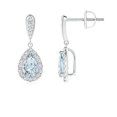Orecchini pendenti con acquamarina a pera con diamante (acquamarina 6 x 4 mm) e Oro bianco, cod. ANG-E-SE1151AQD-WGN-A-6x4