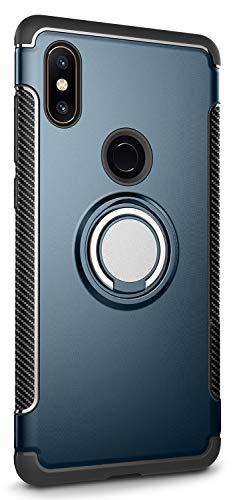 Yoodi Capa Xiaomi Mi Mix 2s à prova de choque, anti-arranhões, camada dupla, capa de proteção com suporte de anel magnético para Xiaomi Mi Mix 2s 6 polegadas - azul-marinho