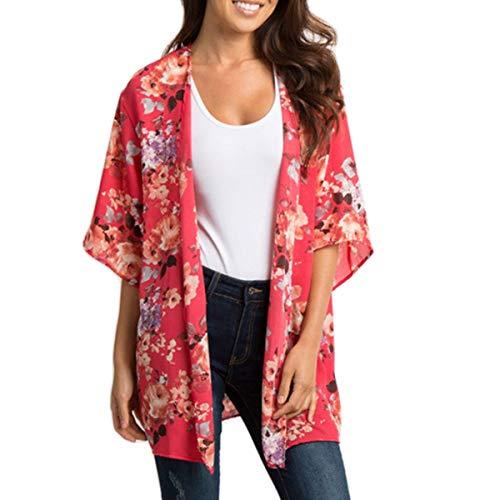Cardigan Donna in Chiffon - Kimono Estivo da Donna, Chiffon Floreale Cardigan Kimono Mare Copricostume Casual Cover Up per Vacanza (Rossa, M)