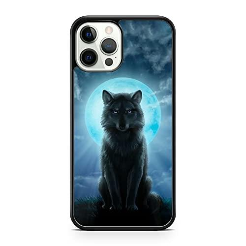 Compatible con Majestic compatible con Wolf Animal Gleaming Elegant Blue Full Moon Scenery Phone Cover (modelo de teléfono: compatible con Huawei P10 Lite)